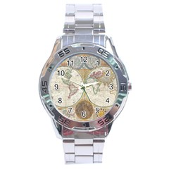 1794 World Map Stainless Steel Watch