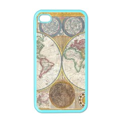 1794 World Map Apple Iphone 4 Case (color)