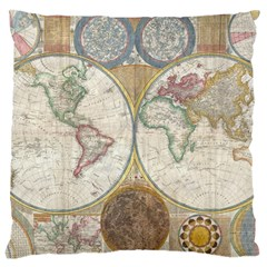 1794 World Map Large Cushion Case (Single Sided)