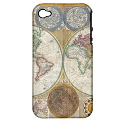 1794 World Map Apple Iphone 4/4s Hardshell Case (pc+silicone)