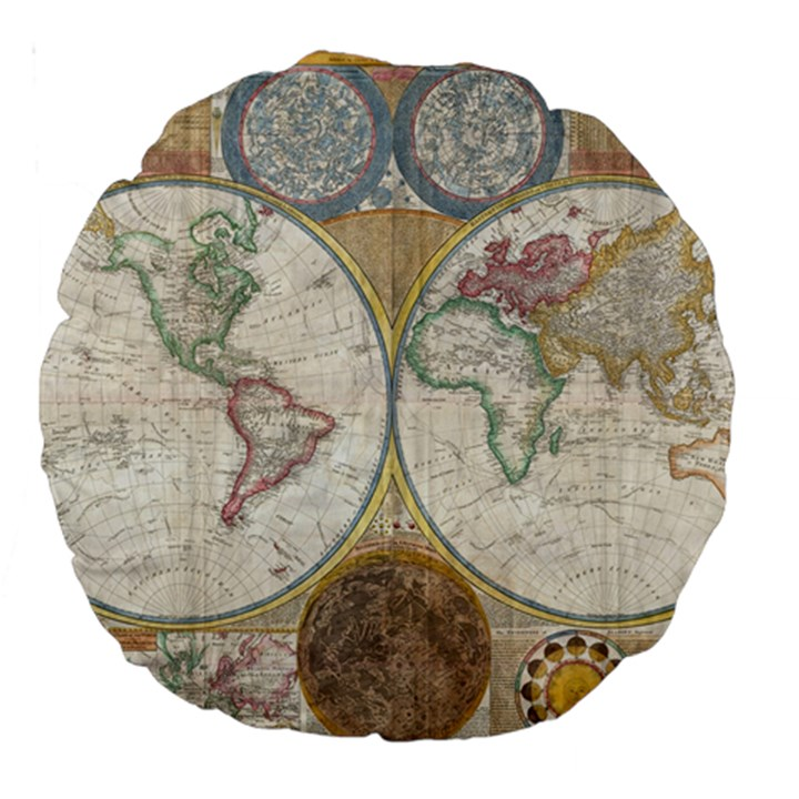 1794 World Map 18  Premium Round Cushion
