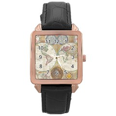1794 World Map Rose Gold Leather Watch