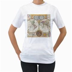 1794 World Map Women s T Shirt (white)