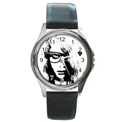 Hipster Zombie Girl Round Leather Watch (Silver Rim)