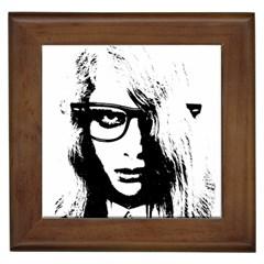 Hipster Zombie Girl Framed Ceramic Tile