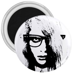 Hipster Zombie Girl 3  Button Magnet