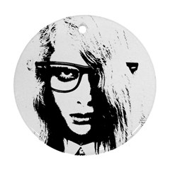 Hipster Zombie Girl Round Ornament