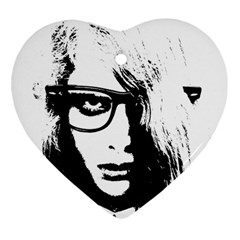 Hipster Zombie Girl Heart Ornament