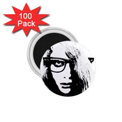 Hipster Zombie Girl 1.75  Button Magnet (100 pack)