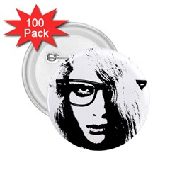 Hipster Zombie Girl 2.25  Button (100 pack)