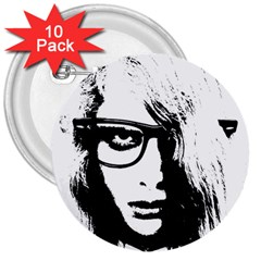 Hipster Zombie Girl 3  Button (10 pack)