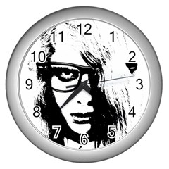 Hipster Zombie Girl Wall Clock (Silver)