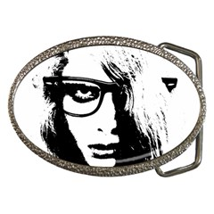 Hipster Zombie Girl Belt Buckle (Oval)