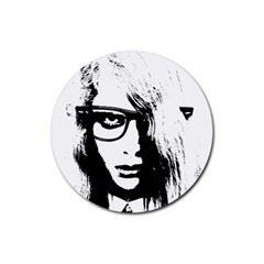 Hipster Zombie Girl Drink Coasters 4 Pack (Round)
