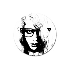 Hipster Zombie Girl Magnet 3  (round)