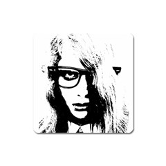 Hipster Zombie Girl Magnet (square)