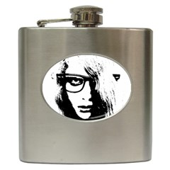 Hipster Zombie Girl Hip Flask