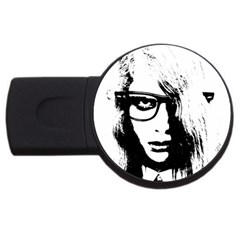 Hipster Zombie Girl 1GB USB Flash Drive (Round)