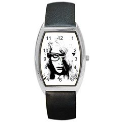Hipster Zombie Girl Tonneau Leather Watch