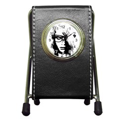 Hipster Zombie Girl Stationery Holder Clock