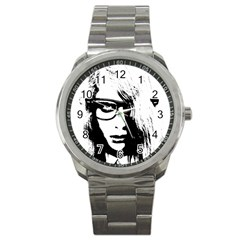 Hipster Zombie Girl Sport Metal Watch