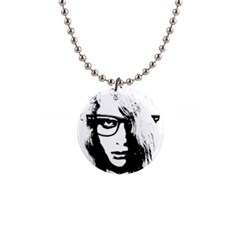 Hipster Zombie Girl Button Necklace