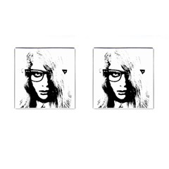 Hipster Zombie Girl Cufflinks (Square)