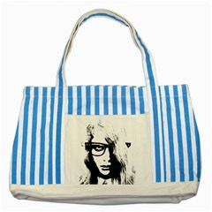 Hipster Zombie Girl Blue Striped Tote Bag