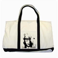 Hipster Zombie Girl Two Toned Tote Bag