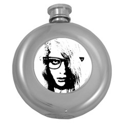 Hipster Zombie Girl Hip Flask (round)