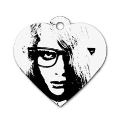 Hipster Zombie Girl Dog Tag Heart (two Sided)