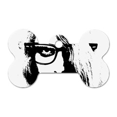 Hipster Zombie Girl Dog Tag Bone (Two Sided)