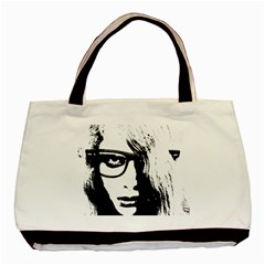 Hipster Zombie Girl Twin-sided Black Tote Bag
