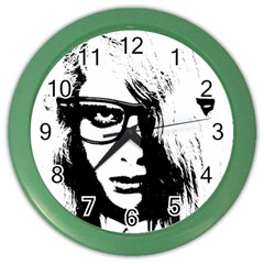 Hipster Zombie Girl Wall Clock (Color)