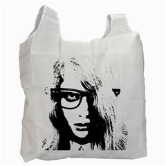 Hipster Zombie Girl White Reusable Bag (Two Sides)
