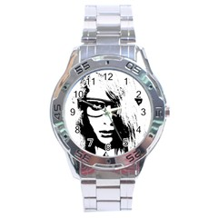 Hipster Zombie Girl Stainless Steel Watch