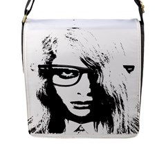 Hipster Zombie Girl Flap Closure Messenger Bag (large)