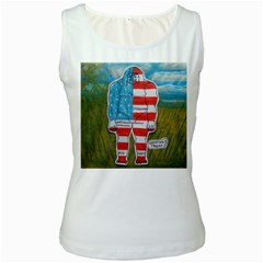 Painted Flag Big Foot Austral Women s Tank Top (White)