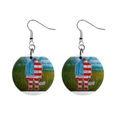 Painted Flag Big Foot Austral Mini Button Earrings