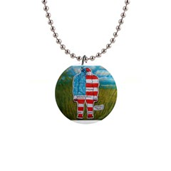 Painted Flag Big Foot Austral Button Necklace