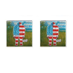 Painted Flag Big Foot Austral Cufflinks (Square)