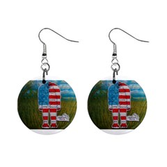 Painted Flag Big Foot Homo Erec Mini Button Earrings