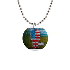 Painted Flag Big Foot Homo Erec Button Necklace