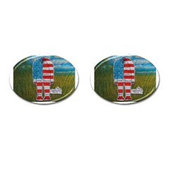 Painted Flag Big Foot Homo Erec Cufflinks (Oval)