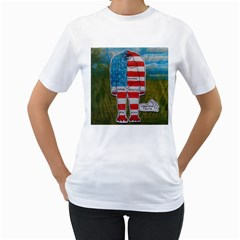 Painted Flag Big Foot Homo Erec Women s T-Shirt (White)
