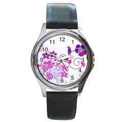 Floral Garden Round Leather Watch (silver Rim)