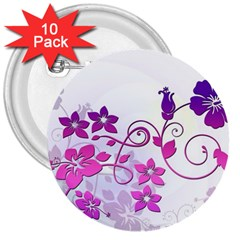 Floral Garden 3  Button (10 pack)