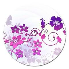 Floral Garden Magnet 5  (Round)