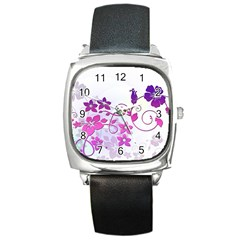Floral Garden Square Leather Watch