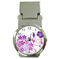 Floral Garden Money Clip with Watch
